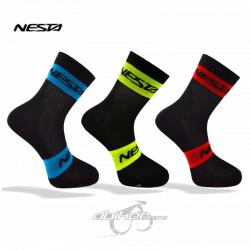 Calcetines Nesta Sensu Negro/Amarillo Fluor, Rojos y Azules